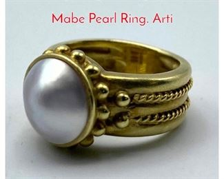 Lot 49 Lilly Fitzgerald style Tests Gold Mabe Pearl Ring. Arti