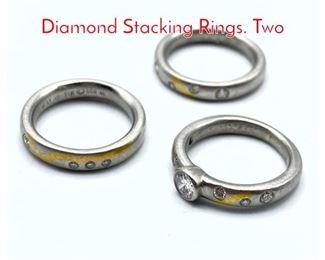 Lot 50 Set 3 Platinum, 22K Gold  Diamond Stacking Rings. Two