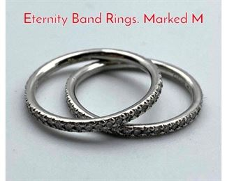 Lot 94 Pr Platinum Small Diamond Eternity Band Rings. Marked M