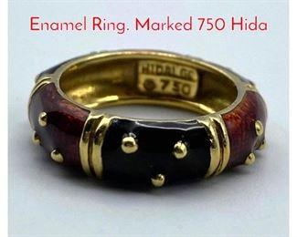 Lot 98 18K Gold HIDALGO Black Red Enamel Ring. Marked 750 Hida
