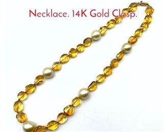 Lot 99 Tumbled Citrine Bead  Pearl Necklace. 14K Gold Clasp.