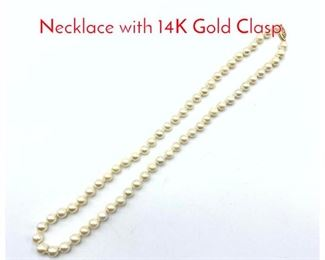 Lot 103 Hand knotted Pearl Bead Necklace with 14K Gold Clasp.