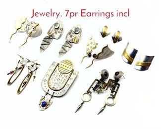 Lot 161 8pc Artisan Studio Modernist Jewelry. 7pr Earrings incl