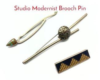 Lot 162 3pc Sterling Silver Artisan Studio Modernist Brooch Pin