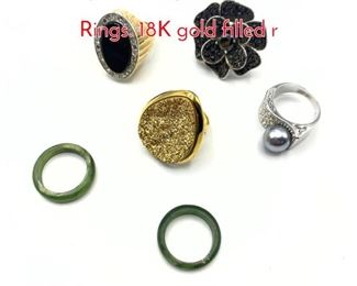 Lot 163 6pc Sterling or Costume Ladies Rings. 18K gold filled r