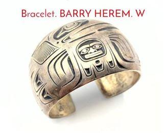 Lot 164 Sterling Native American Cuff Bracelet. BARRY HEREM. W