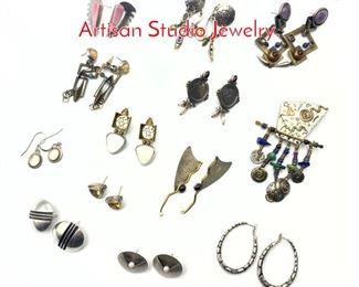 Lot 165 13pc Modernist Silver Jewelry. Artisan Studio Jewelry.