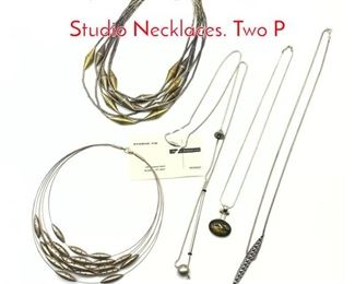 Lot 167 5pc Sterling  Silver Modernist Studio Necklaces. Two P