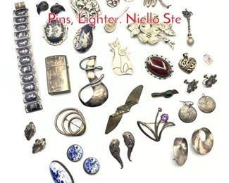 Lot 168 27pc Sterling Lot. Brooches, Pins, Lighter. Niello Ste