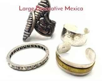 Lot 172 4pc Sterling Silver Bracelet S. Large Decorative Mexica