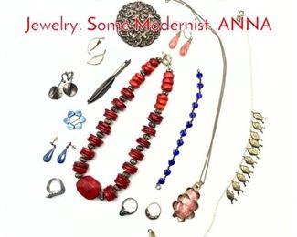 Lot 173 18pc Contemporary Studio Jewelry. Some Modernist. ANNA