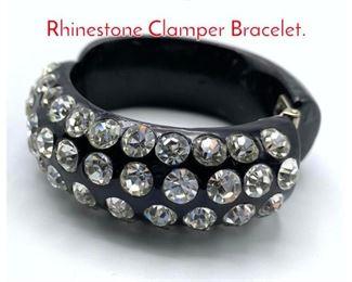 Lot 176 WEISS style Black Plastic Rhinestone Clamper Bracelet.