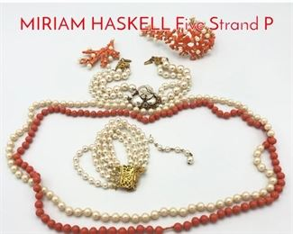 Lot 180 Pearl Coral Tone 5 Pc Lot. MIRIAM HASKELL Five Strand P