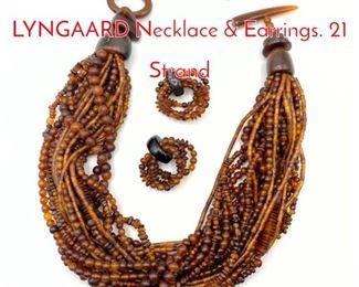 Lot 183 MONIES by GERDA LYNGAARD Necklace  Earrings. 21 Strand