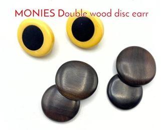 Lot 184 2pr Modernist Earrings. Pr MONIES Double wood disc earr