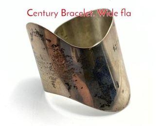 Lot 187 ED LEVIN Sterling Silver Mid Century Bracelet. Wide fla