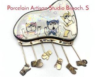 Lot 190 WOOCK STUDIOS Silver Porcelain Artisan Studio Brooch. S