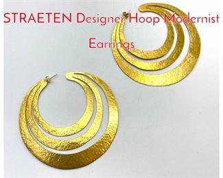 Lot 192 HERVE VAN DER STRAETEN Designer Hoop Modernist Earrings
