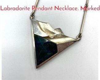 Lot 194 Sterling LAPPONIA Labradorite Pendant Necklace. Marked
