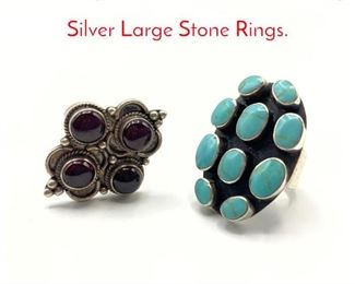 Lot 195 2pc Native American Sterling Silver Large Stone Rings.