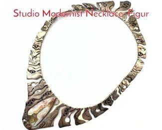 Lot 198 ORION Sterling Artisan Studio Modernist Necklace. Figur