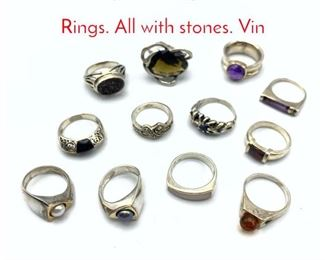 Lot 204 12pc Sterling Silver Ladies Rings. All with stones. Vin