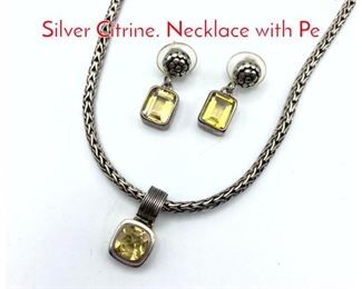 Lot 206 3pc LORI BONN Sterling Silver Citrine. Necklace with Pe