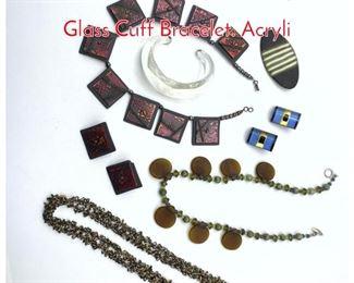 Lot 208 Artisan Studio Jewelry Lot. Glass Cuff Bracelet. Acryli