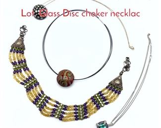 Lot 209 4pc Contemporary Jewelry Lot. Glass Disc choker necklac