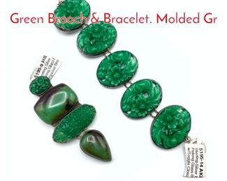 Lot 211 2pc AMY KAHN RUSSELL Green Brooch  Bracelet. Molded Gr
