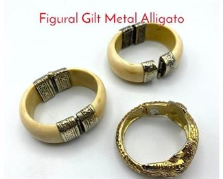 Lot 215 3pc Costume Cuff Bracelets. Figural Gilt Metal Alligato