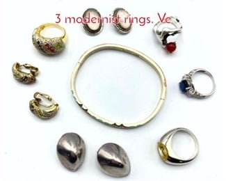 Lot 217 11pc Sterling Silver Jewelry Lot. 3 modernist rings. Ve
