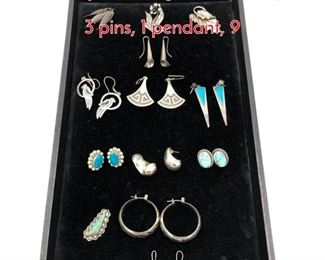 Lot 218 13pc Sterling Silver Jewelry Lot. 3 pins, 1 pendant, 9