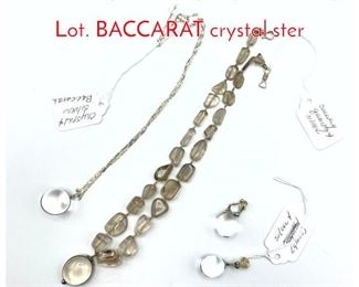 Lot 222 4pc Sterling Crystal Jewelry Lot. BACCARAT crystal ster