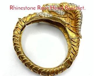 Lot 225 Vintage KJL Kenneth LANE Rhinestone Ram Head Bracelet.