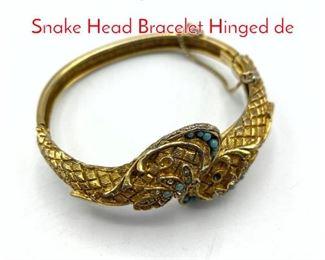 Lot 226 Vintage Gilt Metal Double Snake Head Bracelet Hinged de