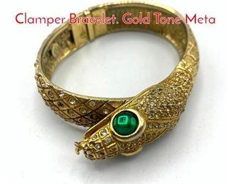 Lot 227 DeNICOLA Figural Snake Clamper Bracelet. Gold Tone Meta