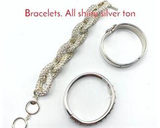 Lot 228 3 Designer Ladies Dress Bracelets. All shiny silver ton