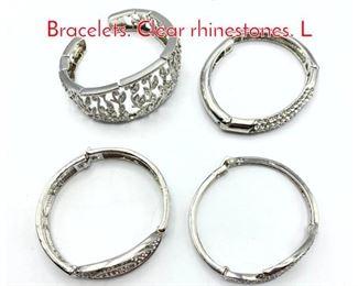 Lot 229 Set 4 Shiny Silver Tone Bracelets. Clear rhinestones. L