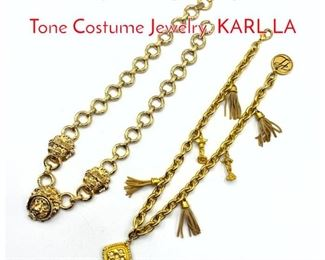 Lot 230 2pc Vintage Designer Gold Tone Costume Jewelry. KARL LA