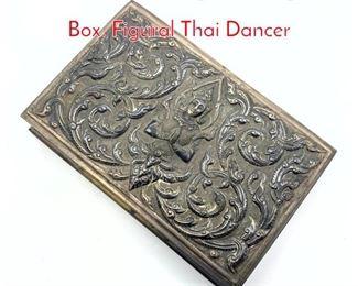 Lot 233 Siam Sterling Silver Cigarette Box. Figural Thai Dancer