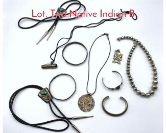 Lot 238 10pc Sterling  Silver Jewelry Lot. Two Native Indian B