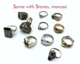 Lot 241 11pc Sterling  Silver Rings. Some with Stones, marcasi