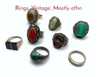 Lot 242 8pc Sterling  Silver Stone Rings. Vintage. Mostly ethn