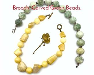 Lot 243 3pc Heavy Beaded Necklaces, Brooch. Carved Green Beads.