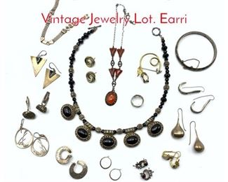 Lot 244 16pc Mixed Sterling  Silver Vintage Jewelry Lot. Earri