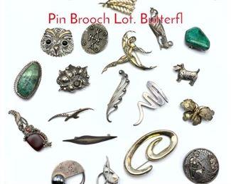 Lot 245 19pc Sterling  Silver Vintage Pin Brooch Lot. Butterfl