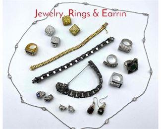 Lot 246 19pc Sterling  Silver Designer Jewelry. Rings  Earrin
