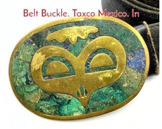 Lot 248 LOS CASTILLO Inlaid Brass Belt Buckle. Taxco Mexico. In