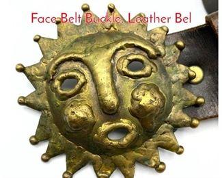 Lot 249 EMAUS Brutalist Brass Sun Face Belt Buckle. Leather Bel